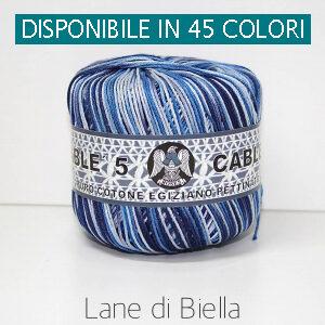 Gomitolo Puro Cotone Perlè Cables Multicolore Azzurro
