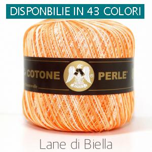 Gomitolo Puro Cotone Perlè Spring Bianco Arancione