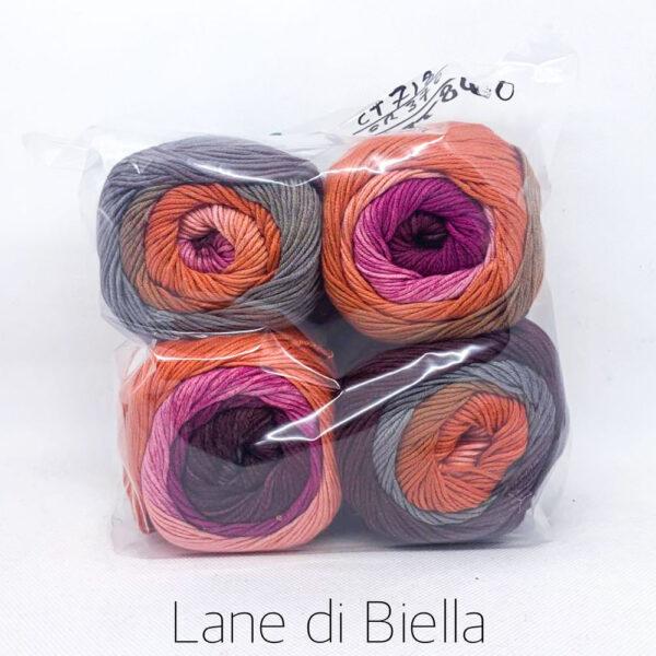 pacco gomitoli cotone viscosa mini cake grigio arancio rosa