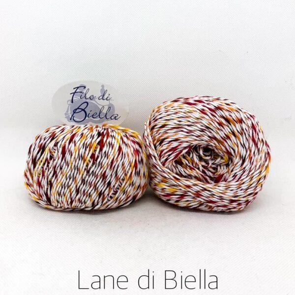 filo di biella gomitolo cotone acrilico 50gr bianco giallo rosso