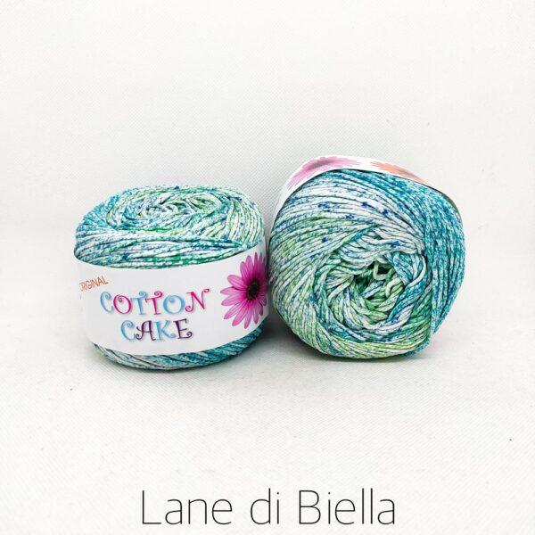 gomitolo roses cotton cake cotone verde azzurro bianco