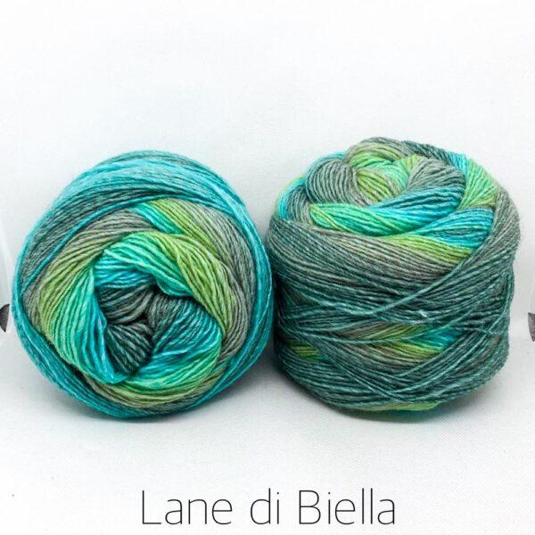 gomitolo misto lana acrilico cake verde azzurro grigio