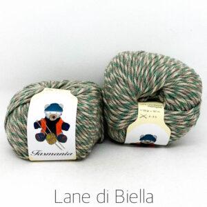 gomitolo pura lana tasmania verde marrone beige