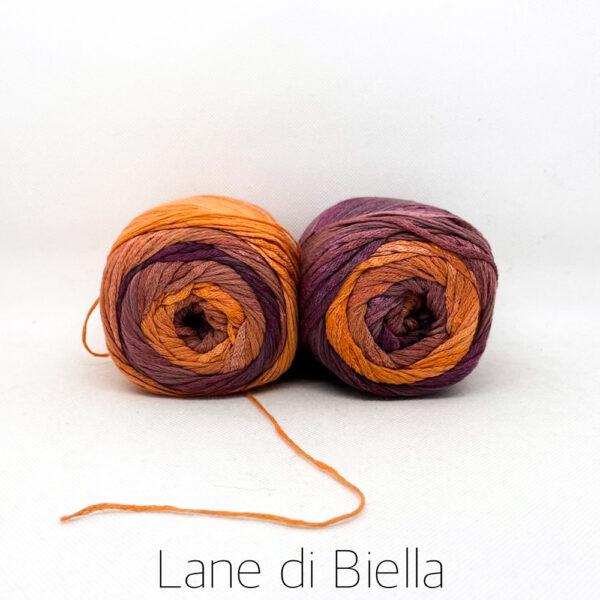 gomitolo cotone viscosa arancio viola