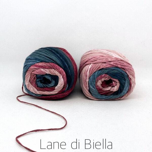 gomitolo cotone viscosa blu rosa