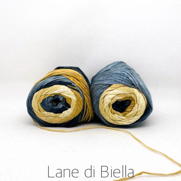 gomitolo cotone viscosa blu grigio oro