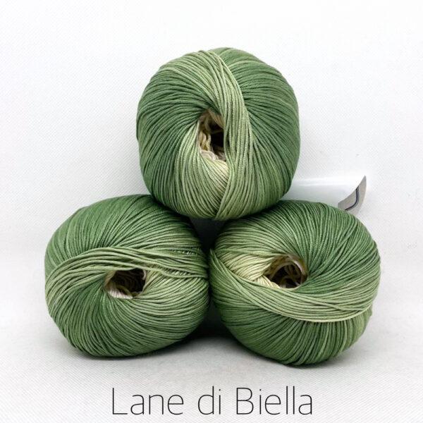 pacco gomitoli cotone egiziano gasato mercerizzato sfumato verde