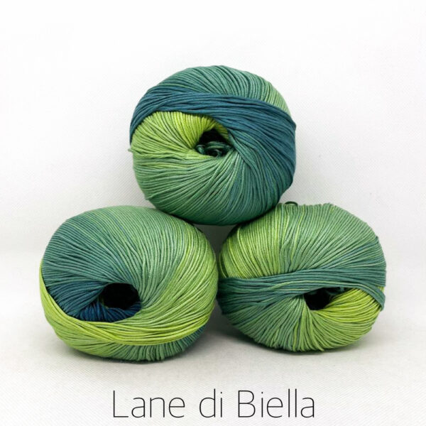 pacco gomitoli cotone egiziano gasato mercerizzato sfumato verde blu
