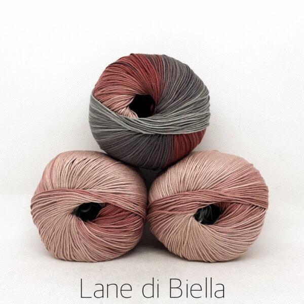 pacco gomitoli cotone egiziano gasato mercerizzato sfumato rosa grigio marrone