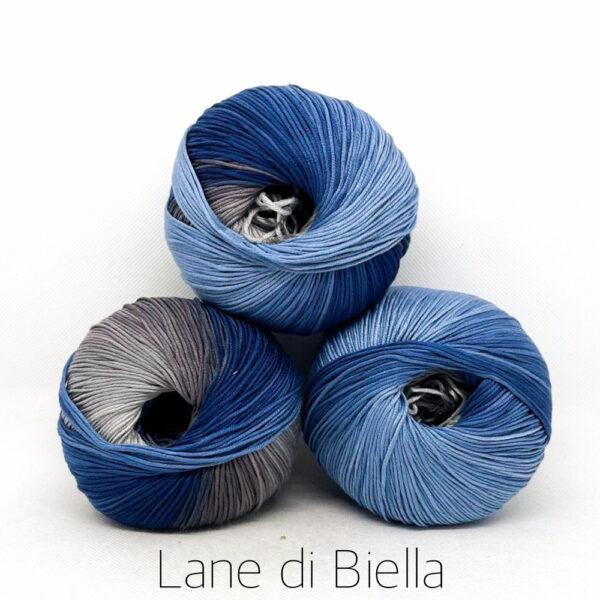 pacco gomitoli cotone egiziano gasato mercerizzato sfumato blu grigio bianco