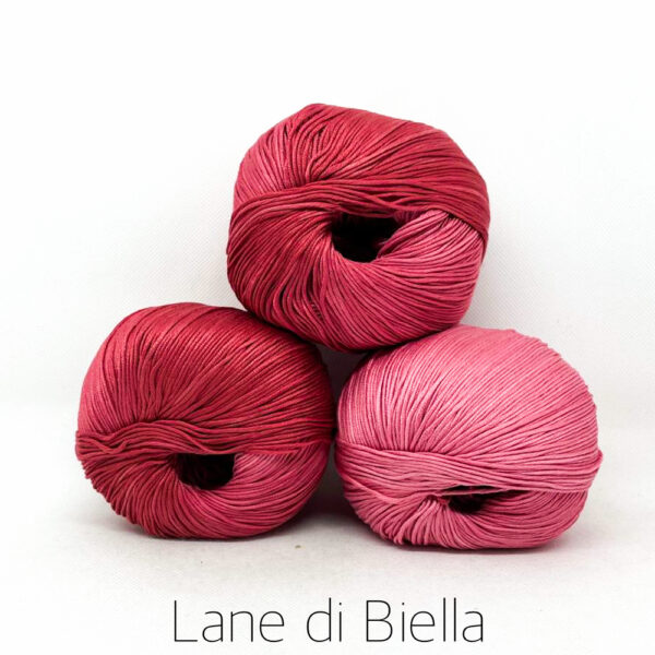 pacco gomitoli cotone egiziano gasato mercerizzato sfumato rosa rosso