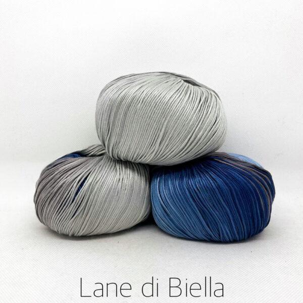 pacco gomitoli cotone egiziano gasato mercerizzato sfumato blu grigio