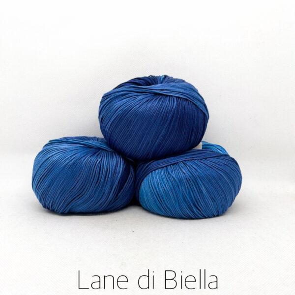 pacco gomitoli cotone egiziano gasato mercerizzato sfumato blu