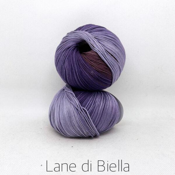 pacco gomitoli cotone egiziano gasato mercerizzato sfumato viola lilla marrone