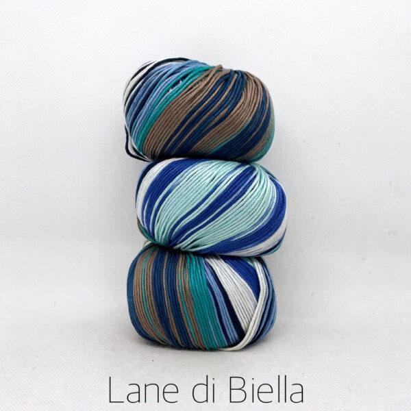 pacco gomitoli cotone egiziano gasato mercerizzato sfumato marrone blu celeste azzurro