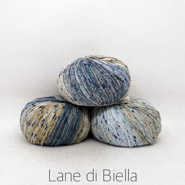 gomitolo puro cotone pacco blu beige azzurro bianco