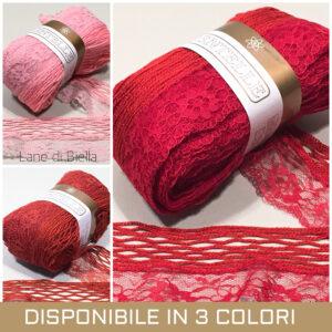 gomitolo sandilane dentelle acrilico polyamide rosso rosa arancio mattone