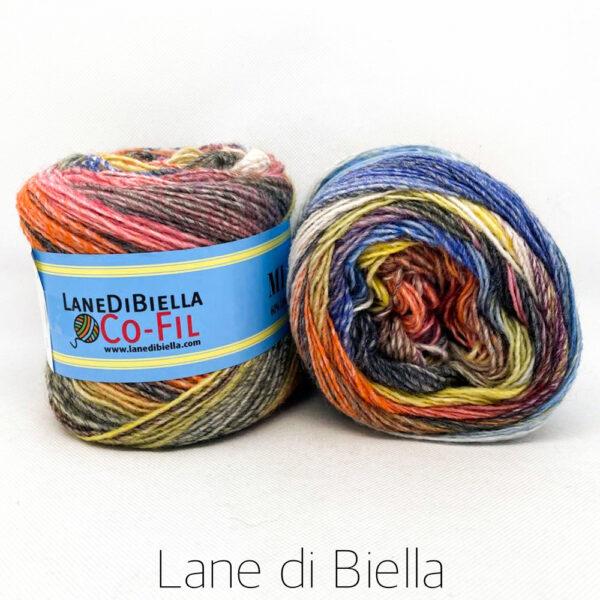 gomitolo misto lana acrilico 350mt blu giallo arancio verde