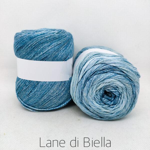 gomitolo cotone viscosa bianco azzurro