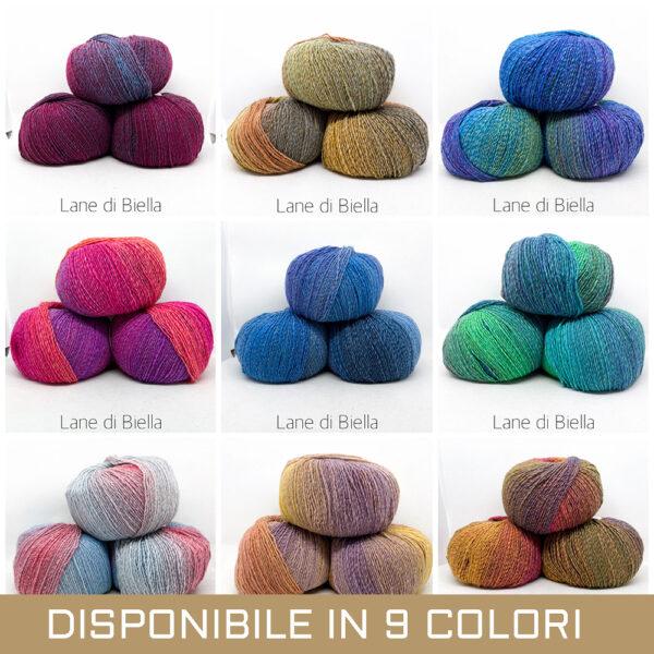 gomitolo lana acrilico pacco viola verde blu viola rosso fuxia azzurro beige biscotto