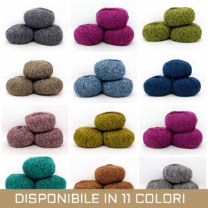 gomitolo lana cotone polyamide pacco 3 pezzi grigio viola arancio verde blu grigio sfumato