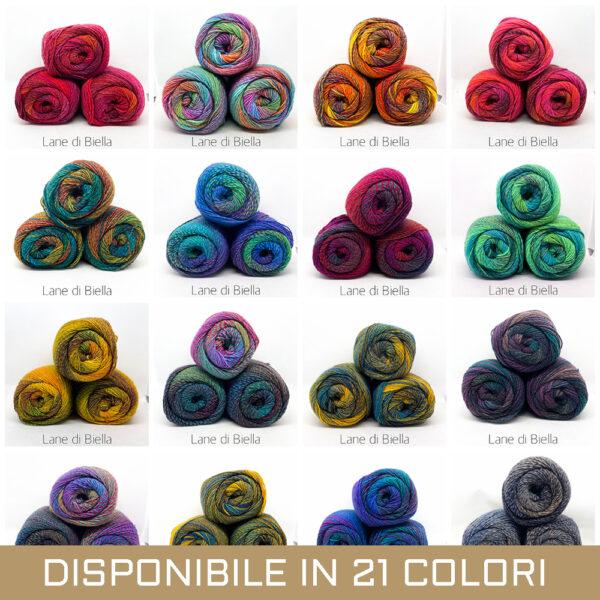 gomitolo lana acrilico pacco 3 rosa beige grigio blu azzurro verde arancio giallo viola