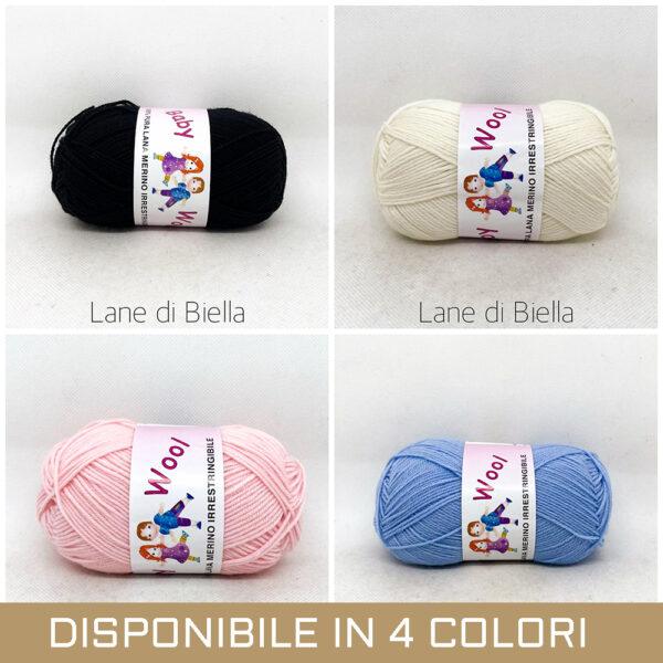 gomitolo pura lana baby rosa panna azzurro nero