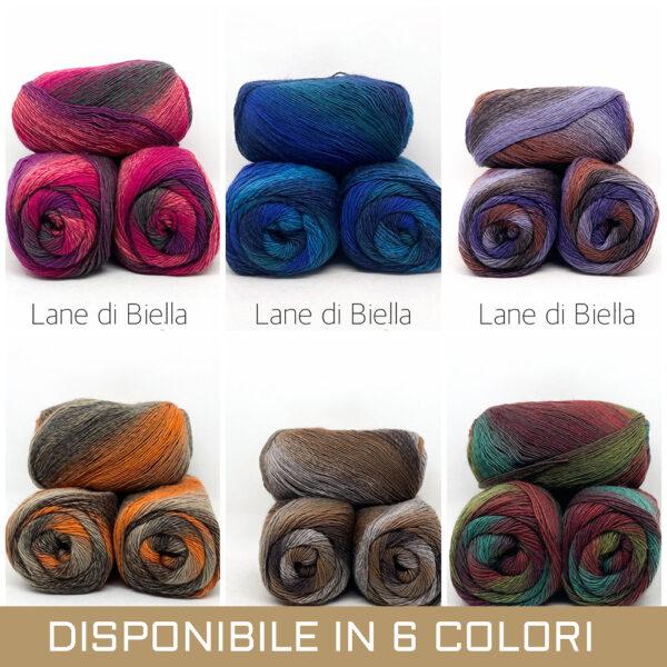gomitolo misto lana polyamide azzurro beige grigio tortora viola arancione grigio