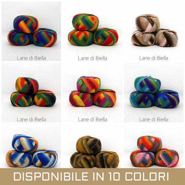 gomitolo misto lana polyamide viola arancione bianco grigio azzurro bianco verde giallo