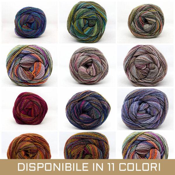 gomitolo misto lana acrilico grigio rosa beige tortora viola blu rosso verde