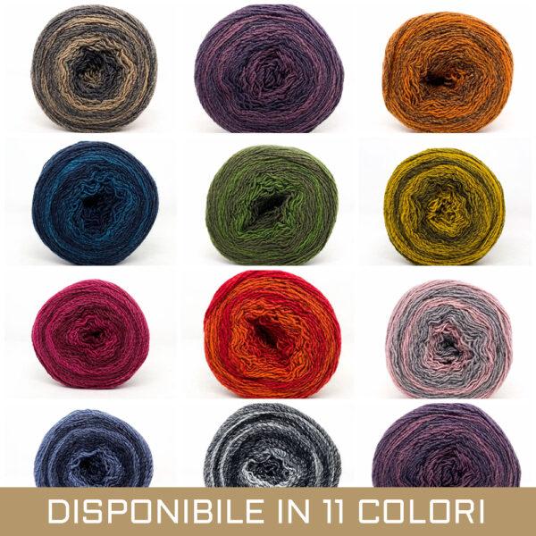 gomitolo misto lana acrilico arancio tortora marrone arancione viola blu azzurro rosa grigio oliva tortora