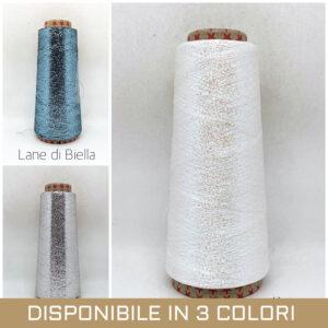 rocca viscosa polyestere lamè petrolio madreperla argento