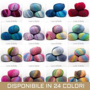 gomitolo misto lana acrilico viola lilla giallone blu grigio rosso fuxia azzurro beige