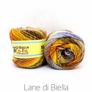 gomitolo misto lana acrilico azzurro arancione giallone
