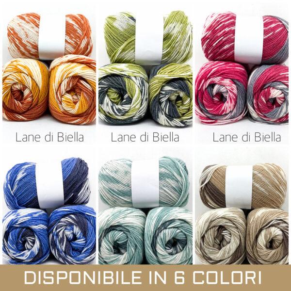 gomitolo misto lana acrilico blu arancione giallo bianco rosso beige verde azzurro blu
