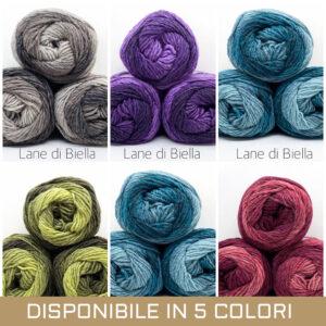 gomitolo misto lana acrilico verde verdino verdone oliva rosso rosa bordeaux grigio azzurro blu lilla viola