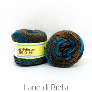 gomitolo misto lana acrilico blu marrone azzurro